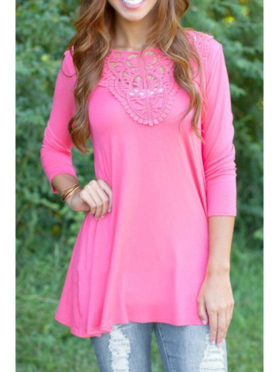 unique Lace Splicing 3/4 Sleeve T-Shirt - PINK S