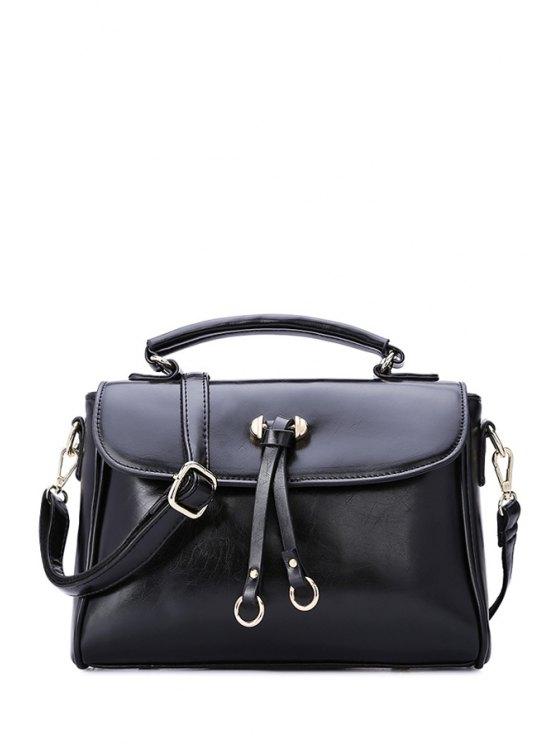 ladies Pendant Metal Solid Color Tote Bag - BLACK