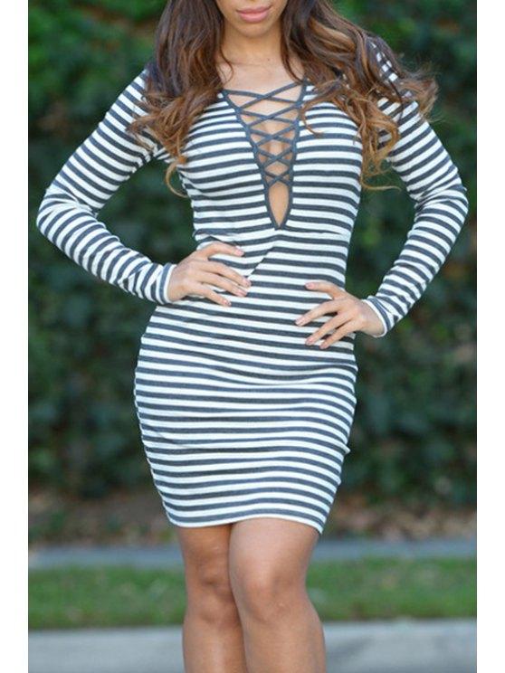 fashion Stripe Plunging Neck Long Sleeve Dress - GREEN S