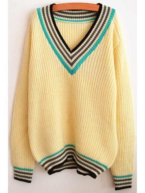 online Preppy Style V-Neck Jumper - BEIGE ONE SIZE(FIT SIZE XS TO M)
