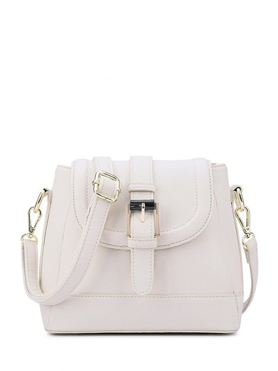 shops Buckle Solid Color Cover Crossbody Bag - WHITE