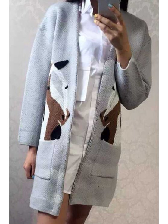 hot Pony Jacquard Long Cardigan - GRAY ONE SIZE(FIT SIZE XS TO M)