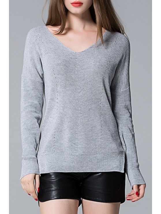shops Solid Color Side Slit V-Neck Long Sleeves Sweater - GRAY ONE SIZE(FIT SIZE XS TO M)