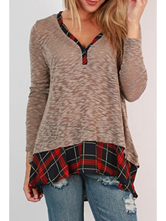 outfits Plaid Spliced V Neck Long Sleeve T-Shirt - GRAY S