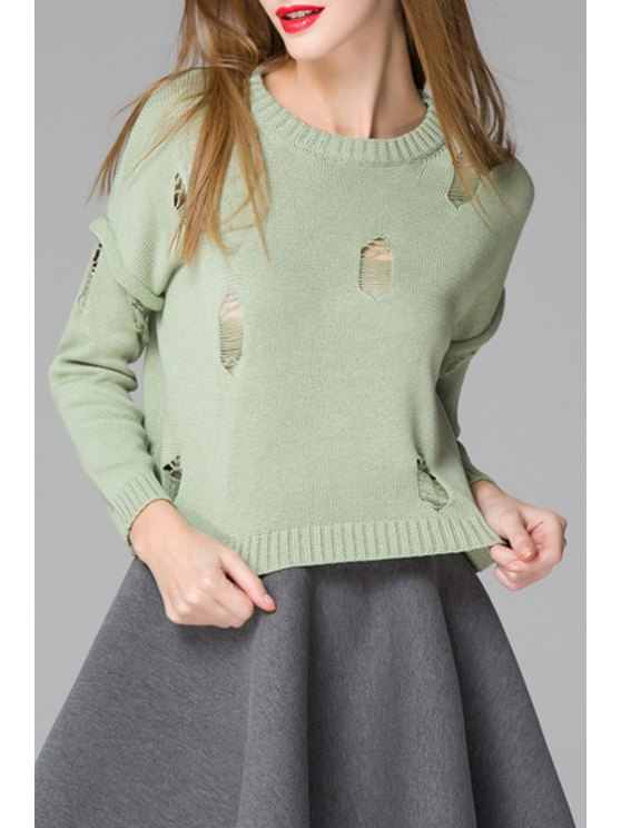 women Solid Color Ripped Round Neck Long Sleeves Sweater - GREEN ONE SIZE(FIT SIZE XS TO M)