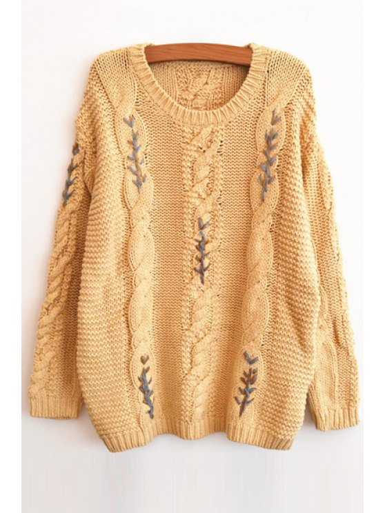 trendy Long Sleeve Cable Knit Sweater - BEIGE ONE SIZE(FIT SIZE XS TO M)