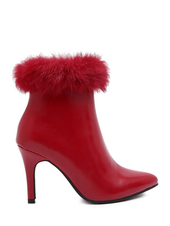 fashion Faux Fur Pointed Toe High Heel Boots - RED 38