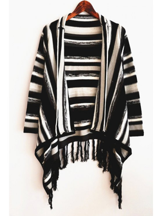 affordable Striped Tassels Knitted Cardigan - WHITE AND BLACK ONE SIZE(FIT SIZE XS TO M)