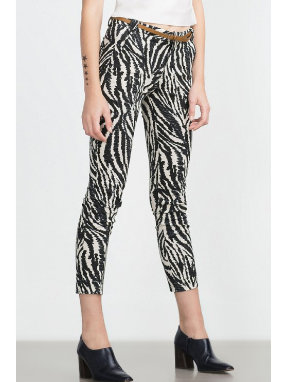online Zebra Striped Print Slimming Narrow Feet Pants - WHITE AND BLACK XS
