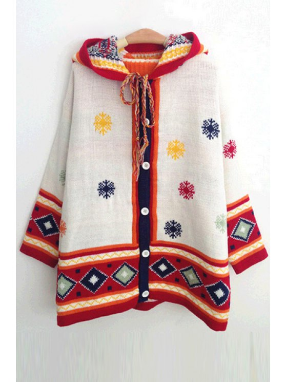 womens Hooded Snowflake Jacquard Cardigan - WHITE ONE SIZE(FIT SIZE XS TO M)