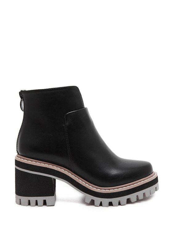 sale Platform Black Chunky Heel Short Boots - BLACK 36