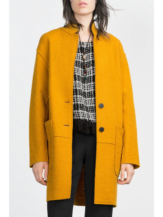 ladies Solid Color Pockets Turn-Down Collar Long Sleeves Coat - YELLOW XS