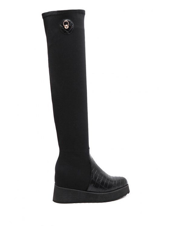 outfits Stone Pattern Splicing Black Thigh Boots - BLACK 35