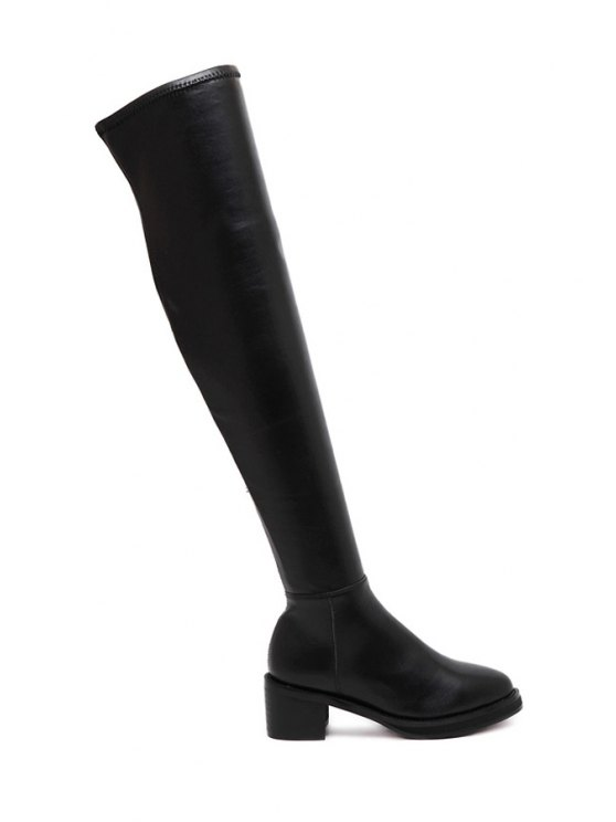fancy Chunky Heel Platform Solid Color Thigh Boots - BLACK 35
