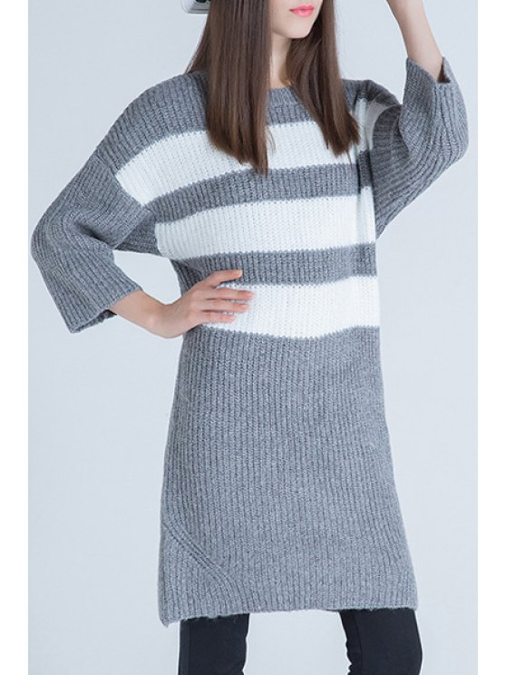 sale Striped Thicken Round Collar Pullover Sweater - GRAY ONE SIZE(FIT SIZE XS TO M)