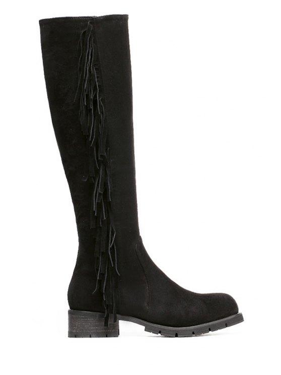 unique Fringe Suede Solid Color Knee-High Boots - BLACK 35