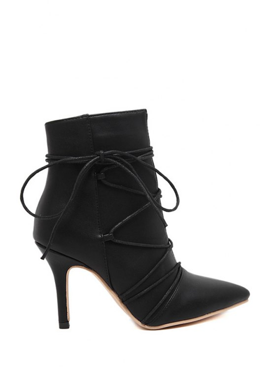 lady Criss-Cross Pointed Toe Black Short Boots - BLACK 35