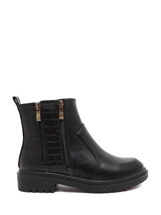 trendy Zippers Stone Pattern Black Short Boots - BLACK 35