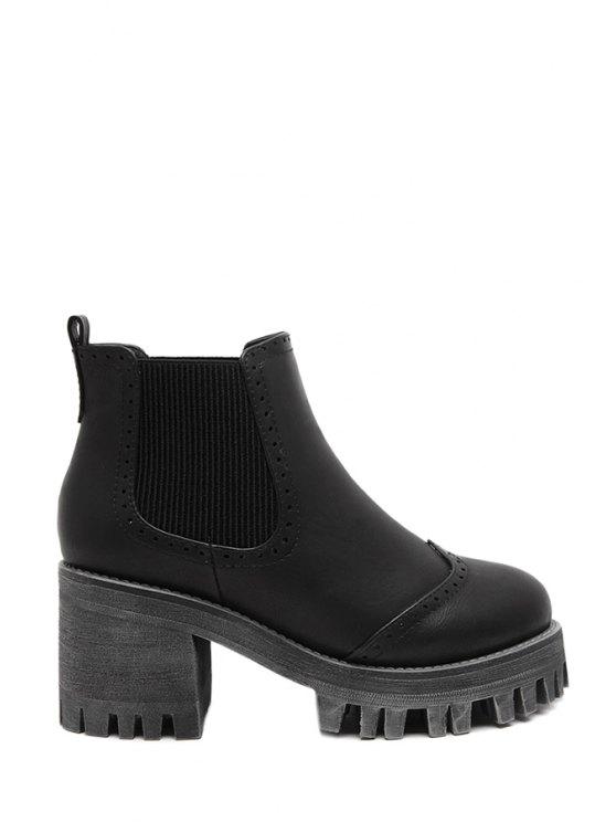 sale Carving Chunky Heel Platform Ankle Boots - BLACK 35