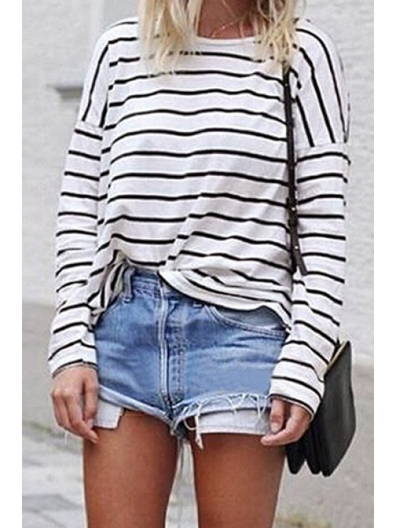 womens Long Sleeve Round Neck Striped T-Shirt - WHITE S