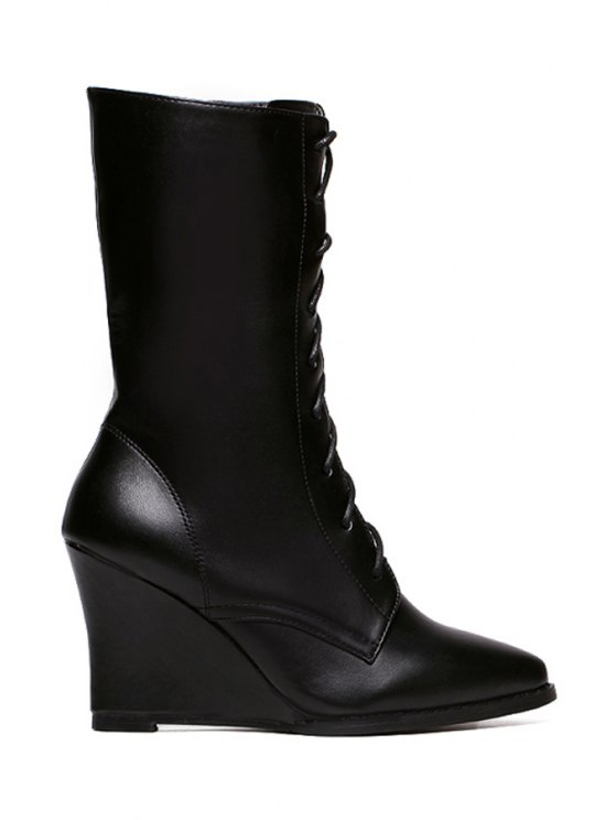 new Pointed Toe Lacing Wedge Heel Mid-Calf Boots - BLACK 34