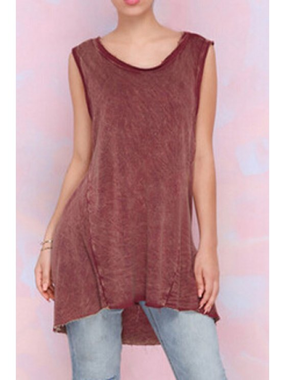 affordable Ripped High Low Hem Tank Top - RED S