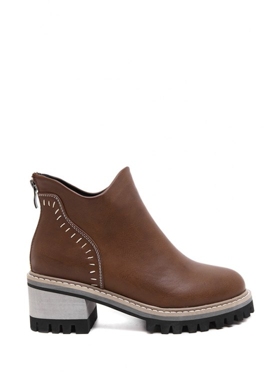 buy Stitching Solid Color Chunky Heel Ankle Boots - DEEP BROWN 35