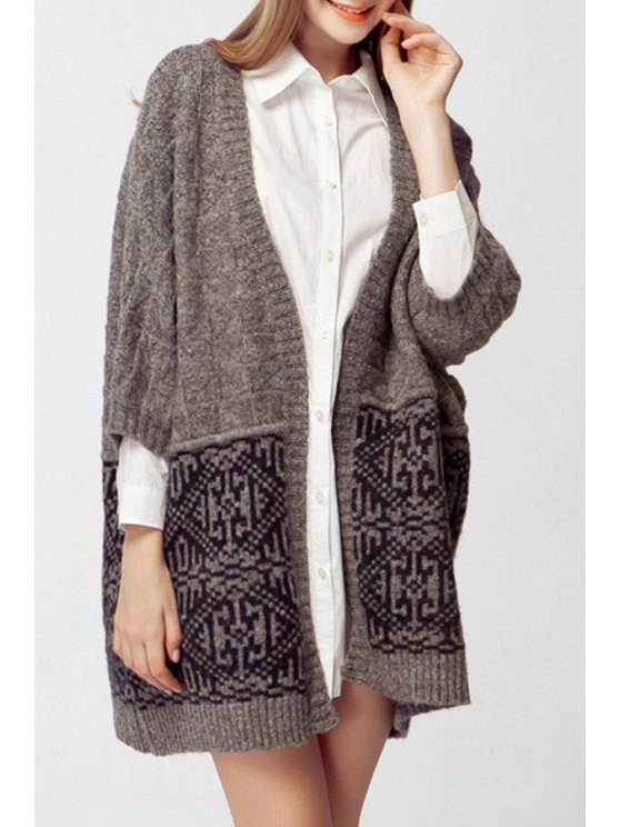 hot Geometric Pattern 3/4 Sleeves Cardigan - GRAY ONE SIZE(FIT SIZE XS TO M)