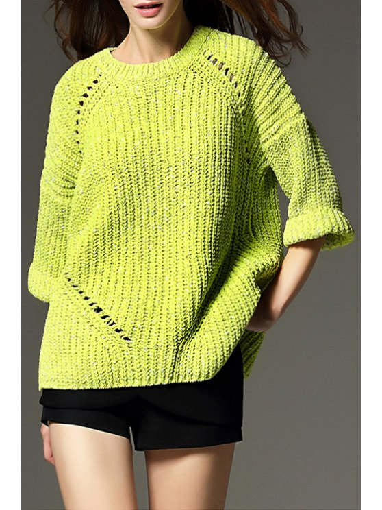 shop Pure Color 3/4 Sleeve Pullover Sweater - GREEN ONE SIZE(FIT SIZE XS TO M)