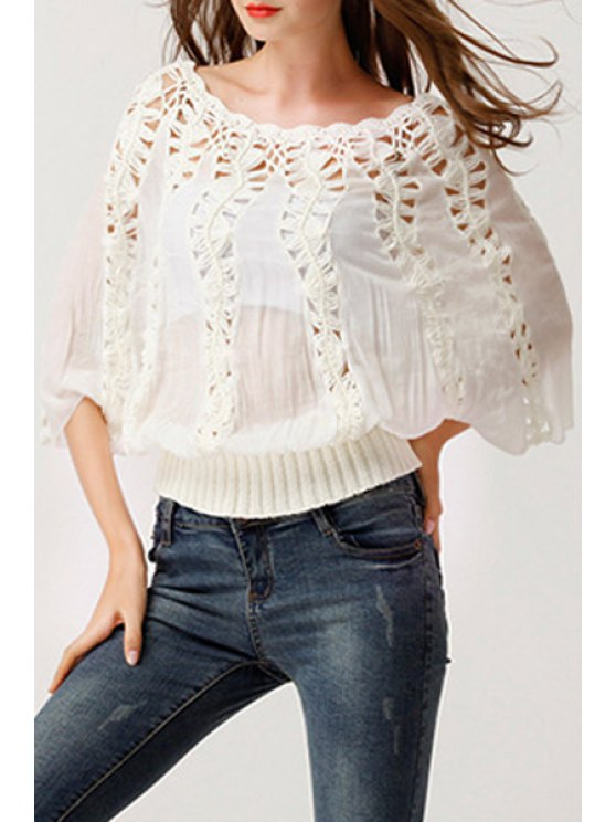 women Hollow Out Boat Neck 3/4 Sleeve Blouse - WHITE ONE SIZE(FIT SIZE XS TO M)