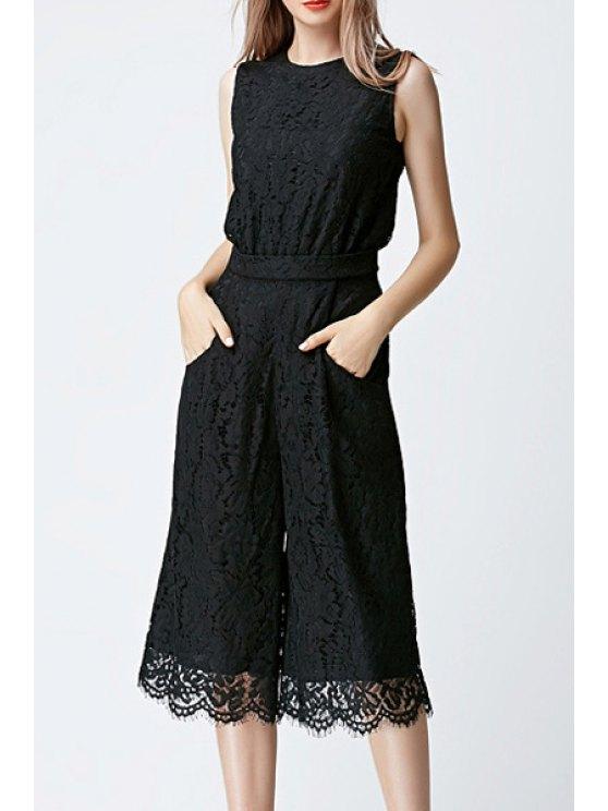 shop Wide Leg Lace Sleeveless Jumpsuit - BLACK S