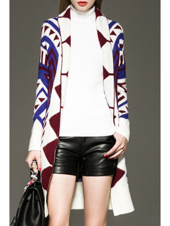 lady Turn Down Collar Geometric Pattern Long Cardigan - BLUE AND WHITE ONE SIZE(FIT SIZE XS TO M)