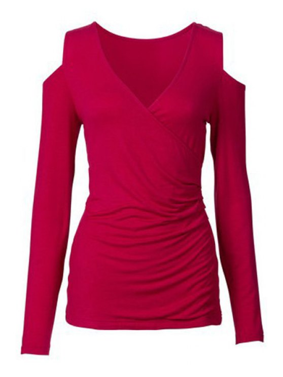 fashion Long Sleeve Cut Out Ruched T-Shirt - RED XL