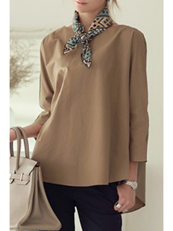 affordable Long Sleeve High Low Blouse - BROWN ONE SIZE(FIT SIZE XS TO M)