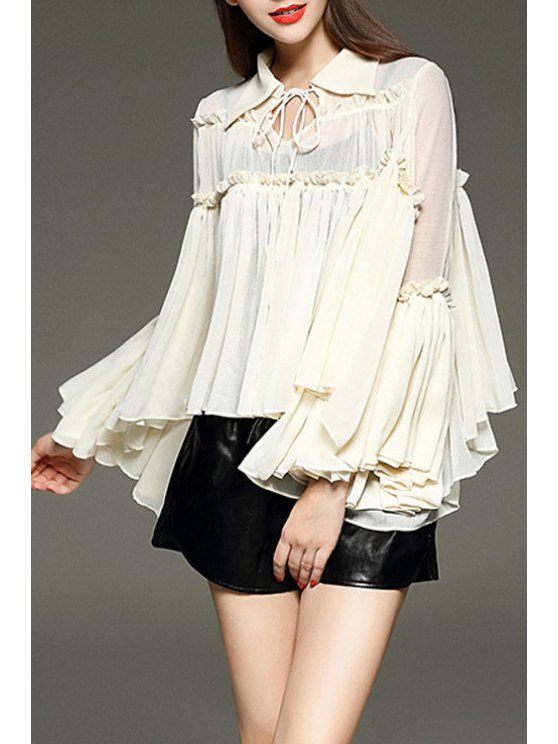 women's Ruffled Turn Down Collar Long Sleeve Blouse - WHITE S