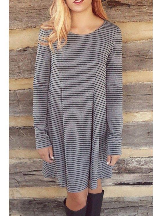 ladies Striped Scoop Neck Long Sleeve Loose Dress - GRAY M