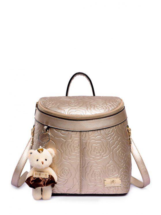 shop Floral Embossing Solid Color Satchel - GOLDEN