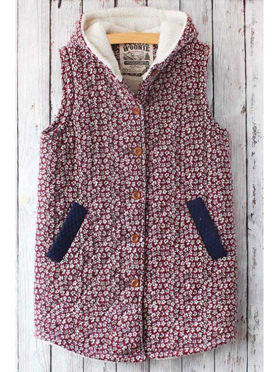 new Red Tiny Floral Hooded Waistcoat - RED ONE SIZE(FIT SIZE XS TO M)