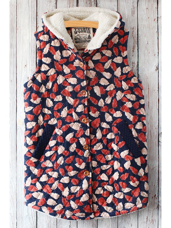 outfit Leaf Print Hooded Waistcoat - RED ONE SIZE(FIT SIZE XS TO M)