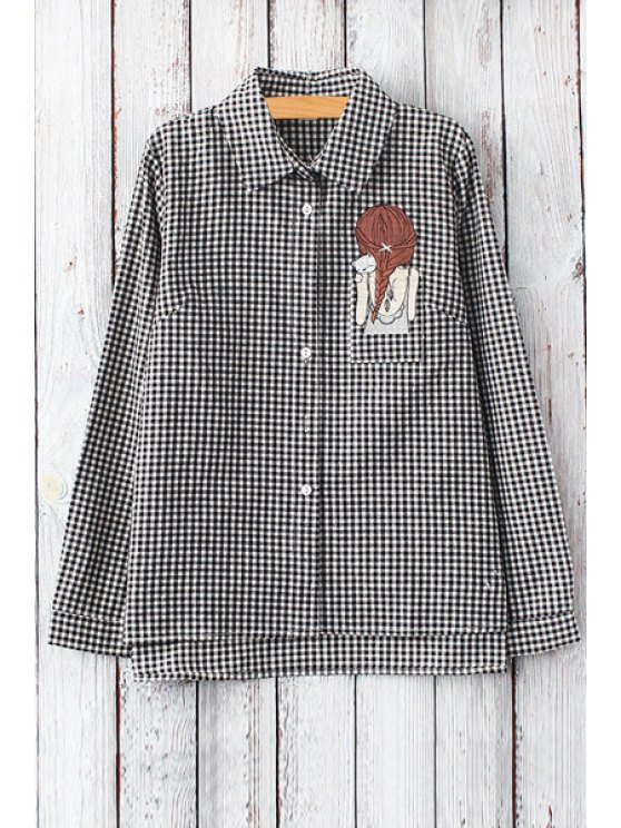 latest Girl Pattern Checked Long Sleeve Shirt - WHITE AND BLACK ONE SIZE(FIT SIZE XS TO M)