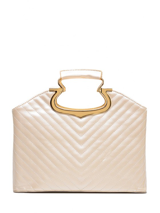 buy Stitching Metal Solid Color Tote Bag - OFF-WHITE