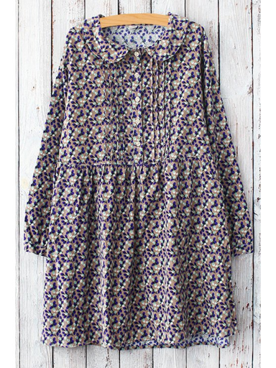 hot Tiny Floral Peter Pan Collar Long Sleeve Dress - APRICOT ONE SIZE(FIT SIZE XS TO M)
