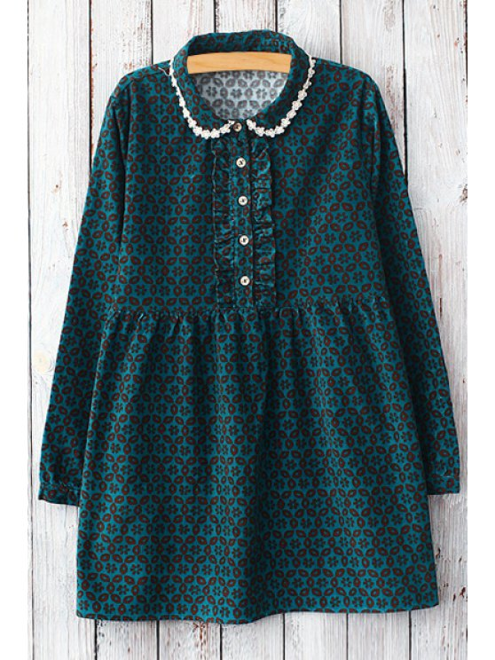 outfit Geometric Print Peter Pan Collar Dress - GREEN ONE SIZE(FIT SIZE XS TO M)