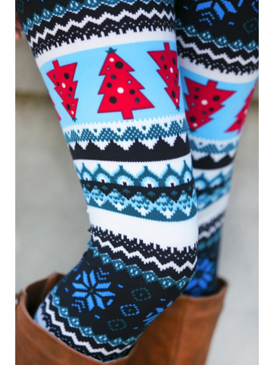ladies Christmas Tree Snowflake Print Stretchy Leggings - COLORMIX ONE SIZE(FIT SIZE XS TO M)