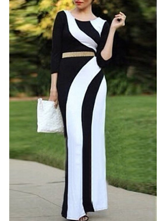 chic 3/4 Sleeve Color Block Maxi Dress - BLACK L