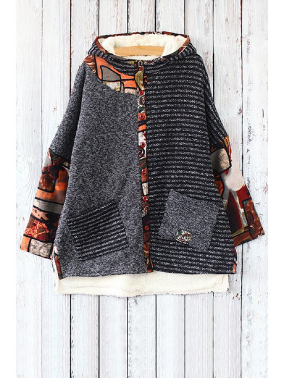 lady Print Spliced Hooded Long Sleeve Coat - DEEP GRAY ONE SIZE(FIT SIZE XS TO M)