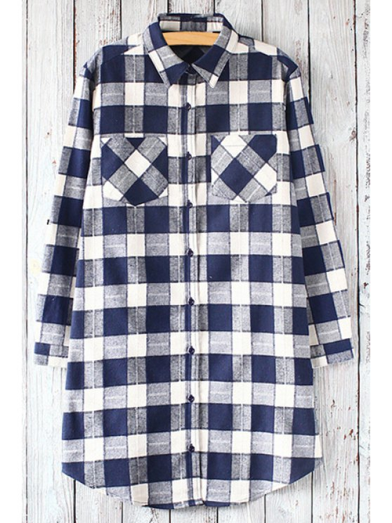 unique Checked Print Shirt Neck Long Sleeve Shirt - BLUE ONE SIZE(FIT SIZE XS TO M)