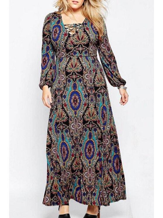 unique Floral Print Plus Size Maxi Dress - COLORMIX L