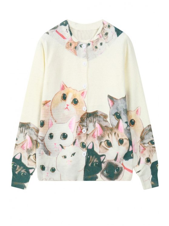 new Colorful Kitten Pattern Cardigan - OFF-WHITE ONE SIZE(FIT SIZE XS TO M)