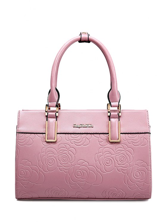 fashion Floral Embossing Letter Tote Bag - PINK